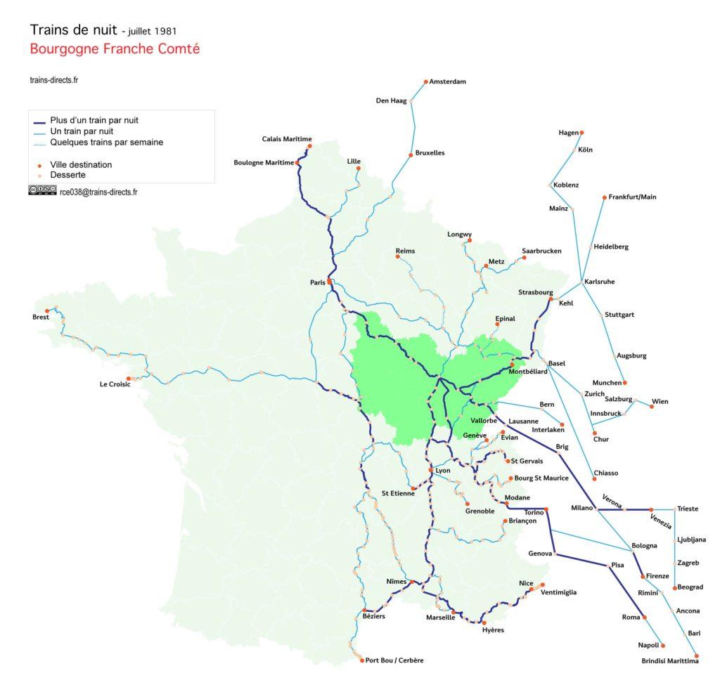 Trains de nuit Bourgogne Franche Comté
