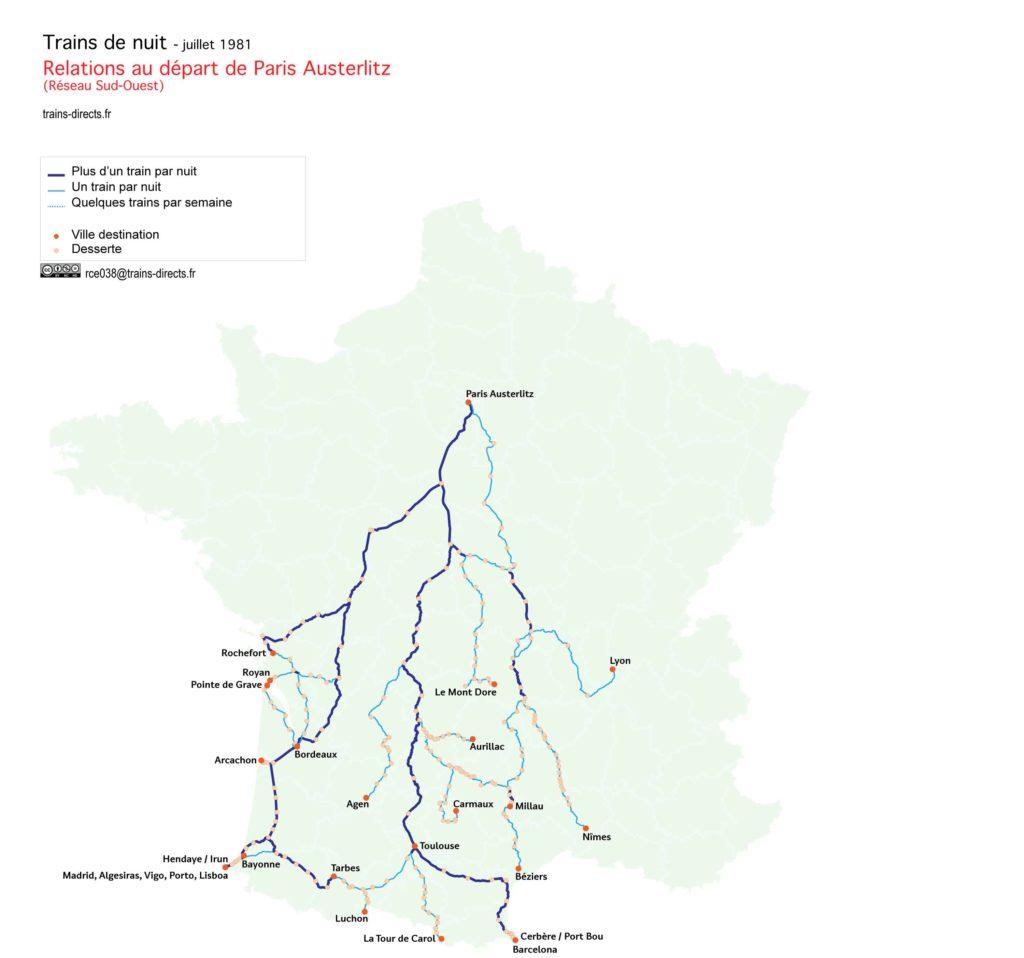 Trains de nuit au départ de Paris Austerlitz