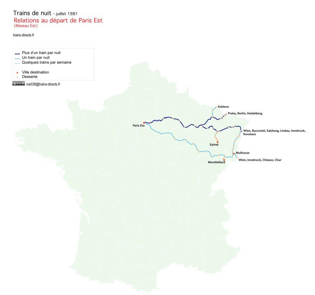 Trains de nuit au départ de Paris Est