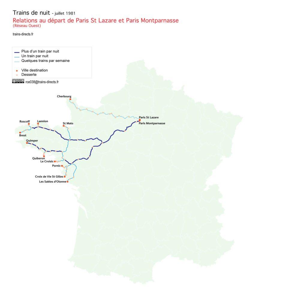 Trains de nuit au départ de Paris Montparnasse et Paris St Lazare