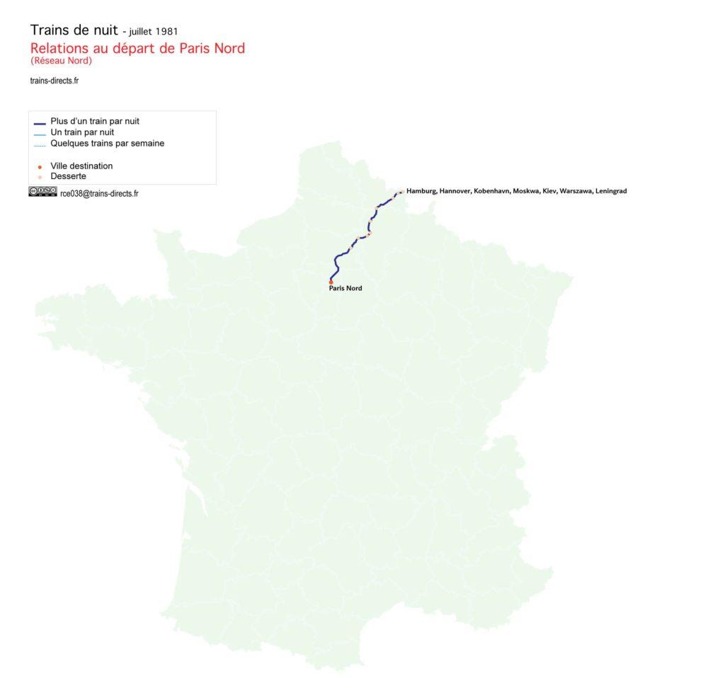 Trains de nuit au départ de Paris Nord