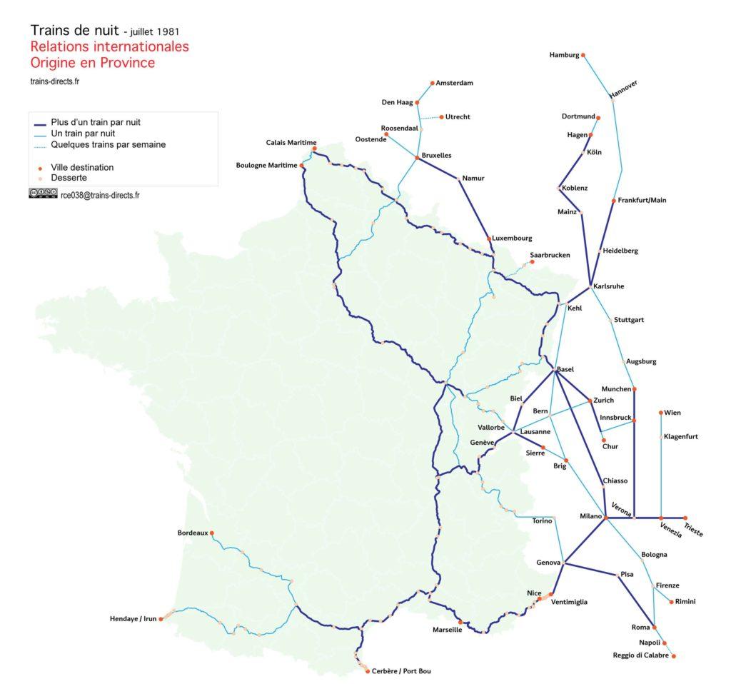 Trains de nuits internationaux au départ de villes de province