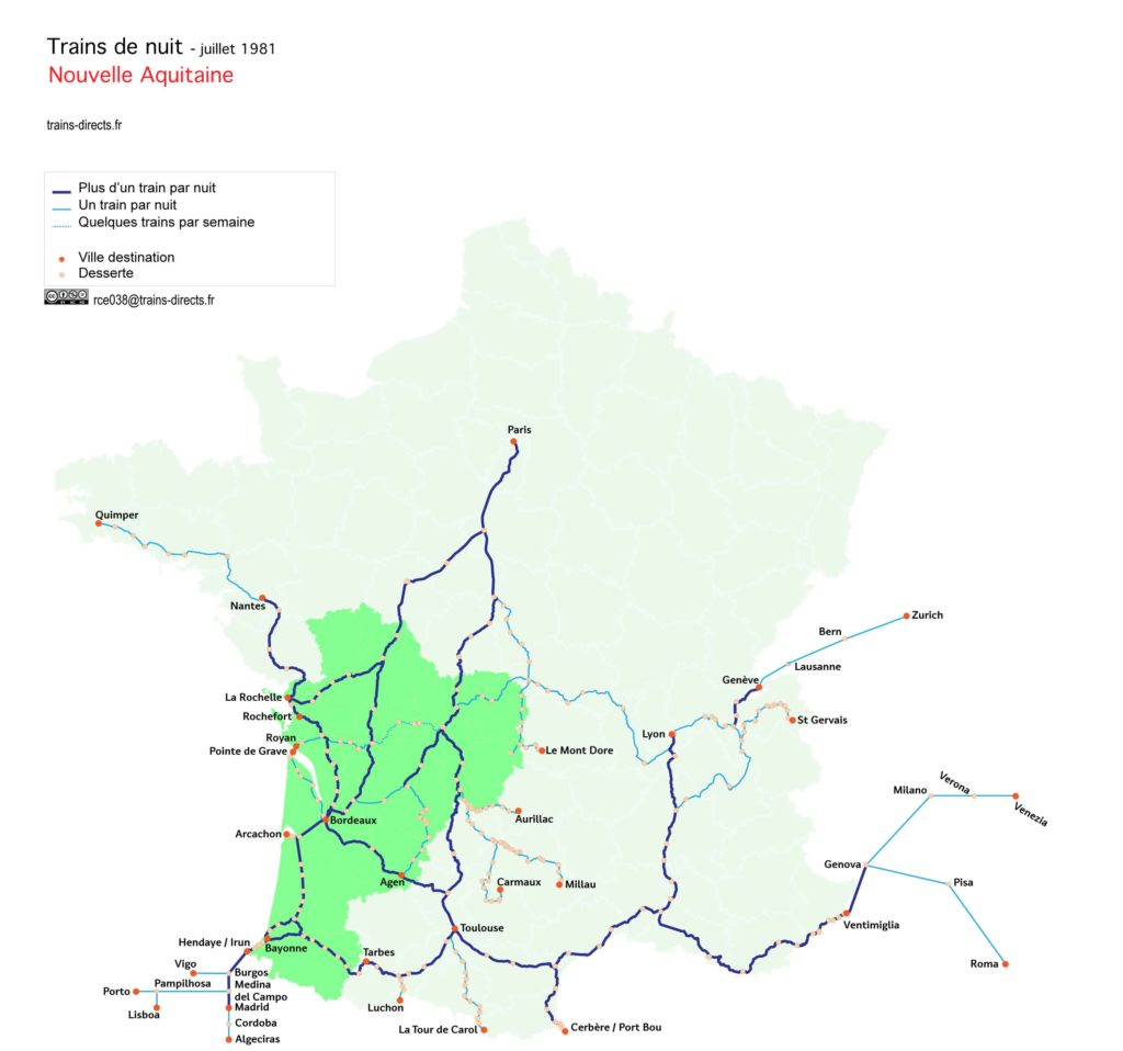 Trains de nuit Nouvelle Aquitaine